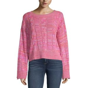 NWT a.n.a Womens Long Sleeve Knit Sweater Pink XL